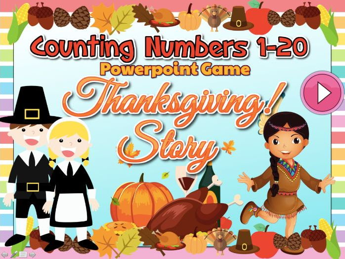 Counting Numbers 1-20 Interactive Powerpoint Game - Thanksgiving Bundle