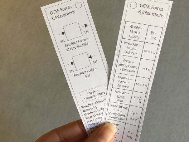 Forces & Interactions Equation Bookmark (2018 spec)