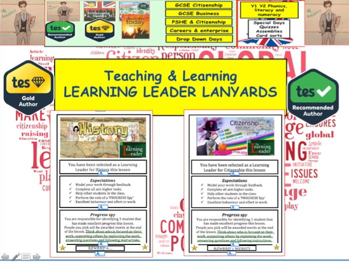 Teaching & Learning Learning Leader Lanyards - Citizenship, History, Humanities etc.
