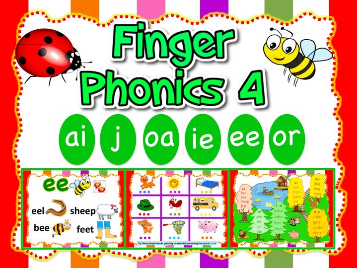 Jolly Phonics 4-ai, j, oa, ie, ee, or - Animated PPT (24 slides)