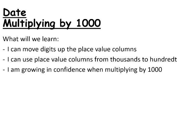 Multiplying by 1000 PowerPoint Lesson