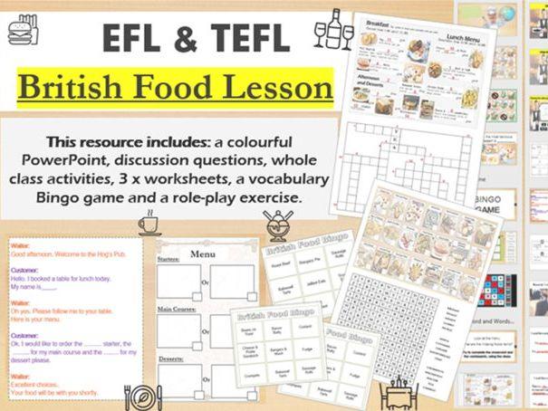 British Food  (EFL TEFL) Games and worksheets