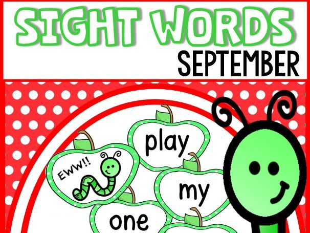 Back to School Sight Words Flash Cards and Game - Apple themed