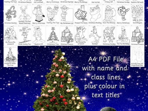 Set Of 42 A4 UK Christmas Colouring Sheets Handouts Printables in Portrait Size