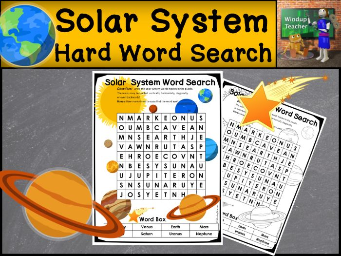 Solar System Word Search   HARD Puzzle