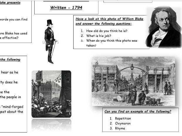 'London' William Blake Worksheet