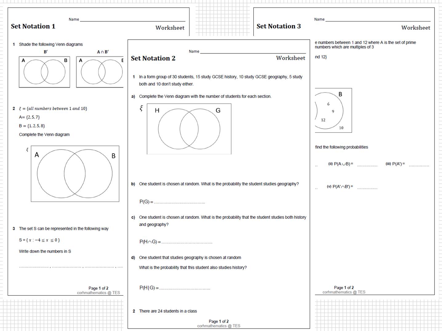 Set Notation worksheets