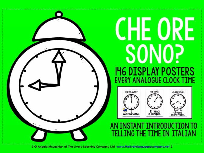 ITALIAN TELLING THE TIME 146 POSTERS / FLASHCARDS - EVERY ANALOGUE CLOCK TIME IN ITALIAN!