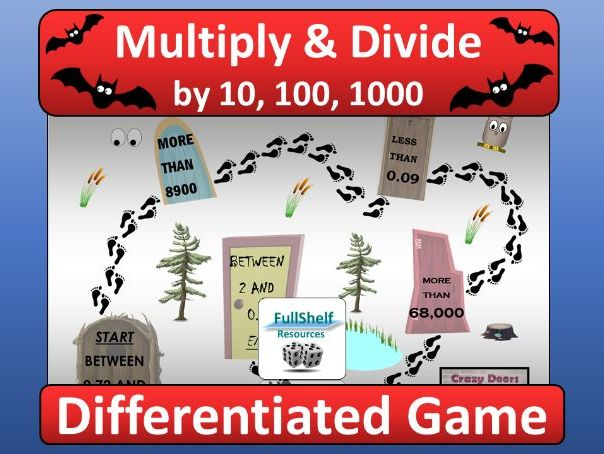 Multiply / Divide by 10, 100, 1000 Game (Halloween)