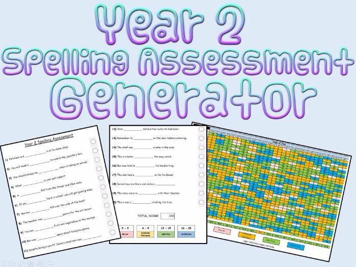 Year 2:  Spelling Assessments and Tracking (Generator)