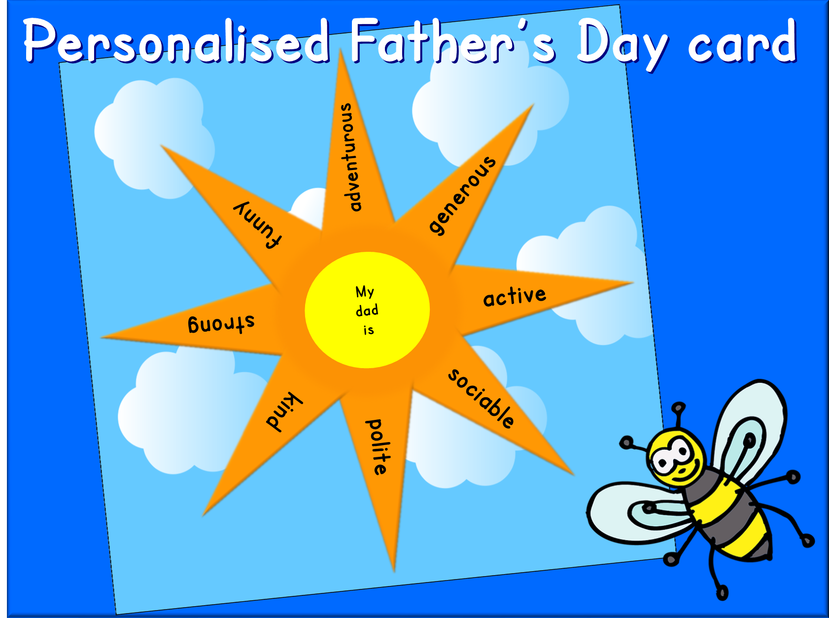 Personalised Father's Day sun card - adjectives