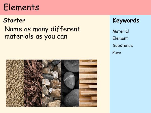 KS3 Atoms - Lesson 1 - Elements