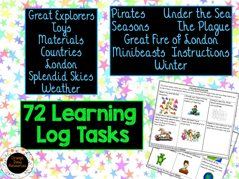 75 Learning Log Homework Tasks for Y1 & Y2 - 14 sheets