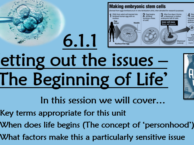 RE A2 Ethics - Unit 6 Mini SOW Beginning of Life Issues