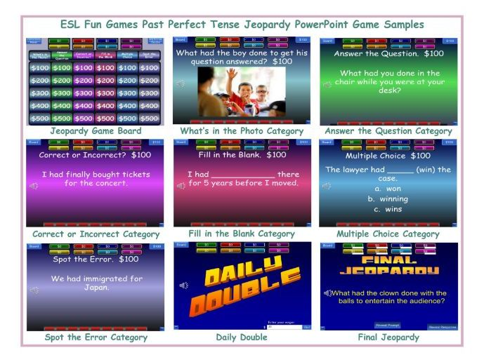 Past Perfect Tense Jeopardy PowerPoint Game