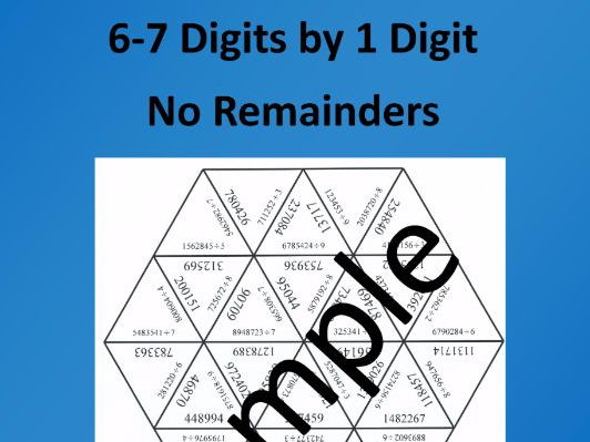Division 6-7 Digits by 1 Digit - Math Puzzle