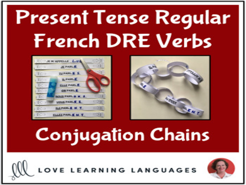 Present tense French DRE Verbs - Primary conjugation chains - Cut and paste