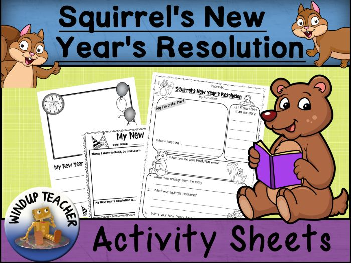Squirrel's New Year's Resolution Activity Sheets |  Print & Go!