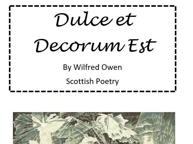 Dulce et Decorum Est - Differentiated Workbook