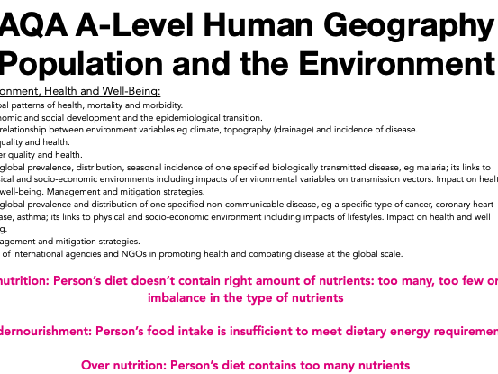AQA A Level Geography: Population and the Environment - Environment, Health and Wellbeing