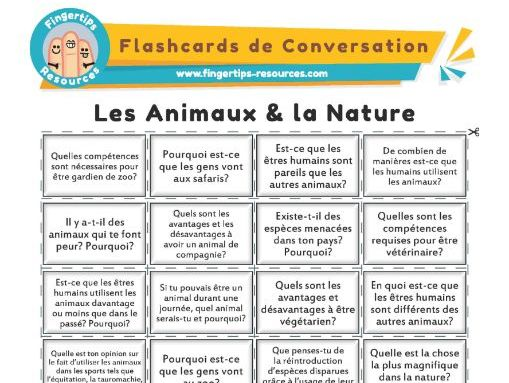 Les Animaux & la Nature - French Conversation Flashcards