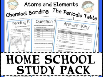 Distance Learning: Chemistry Atoms, Periodic Table and Bonding