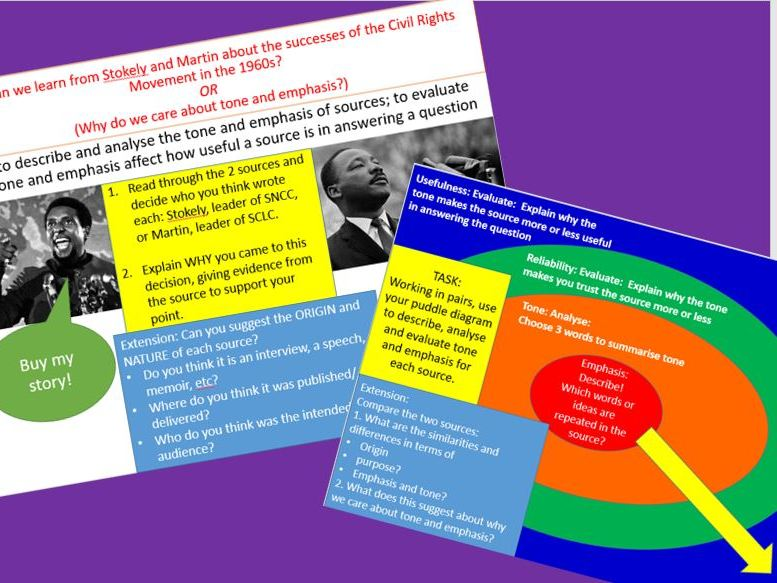 Success of Civil Rights Movement in USA 1960s through sources (tone & emphasis) - AS/ A Level, AQA