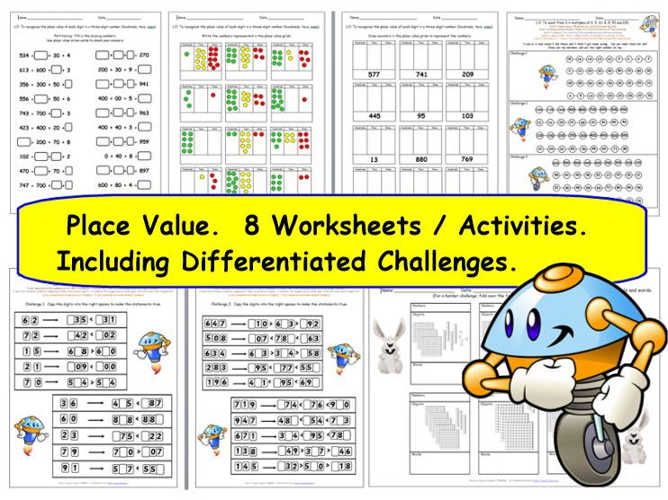 Y3 Place Value - 8 Worksheets / Activities - 11 pages and 18 challenge cards plus all answers