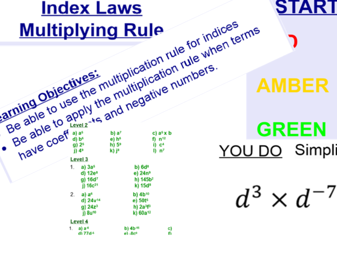 Indices - Index Laws - Multiplication Rule - FULL LESSON WITH ANSWERS DIFFERENTIATED