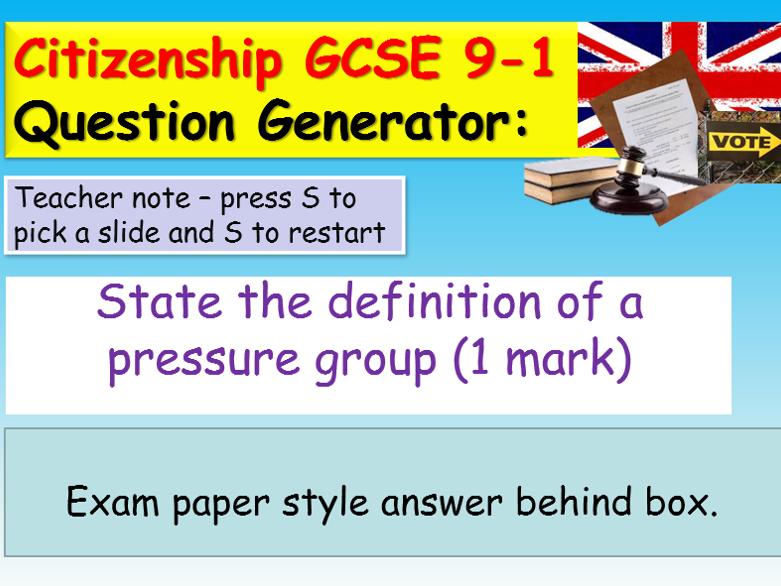Citizenship GCSE Question Generator