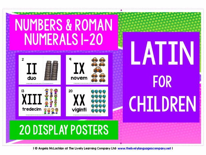 BACK TO SCHOOL PRIMARY LATIN - NUMBERS & ROMAN NUMERALS 1-20 POSTERS / FLASHCARDS