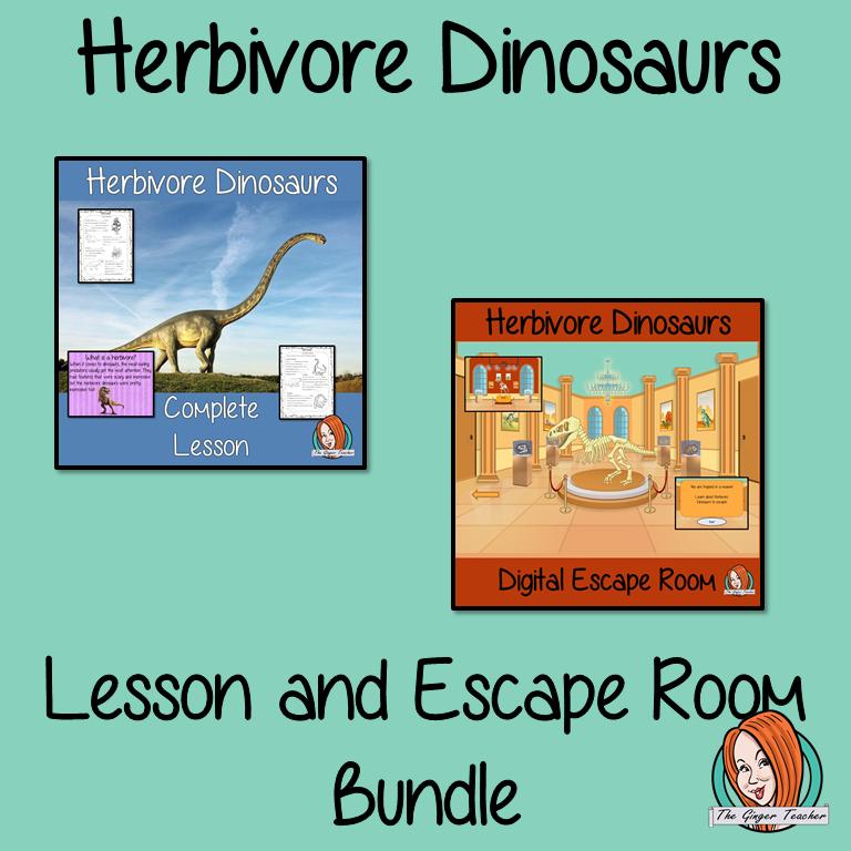 Herbivore Dinosaurs Lesson and Escape Room Bundle