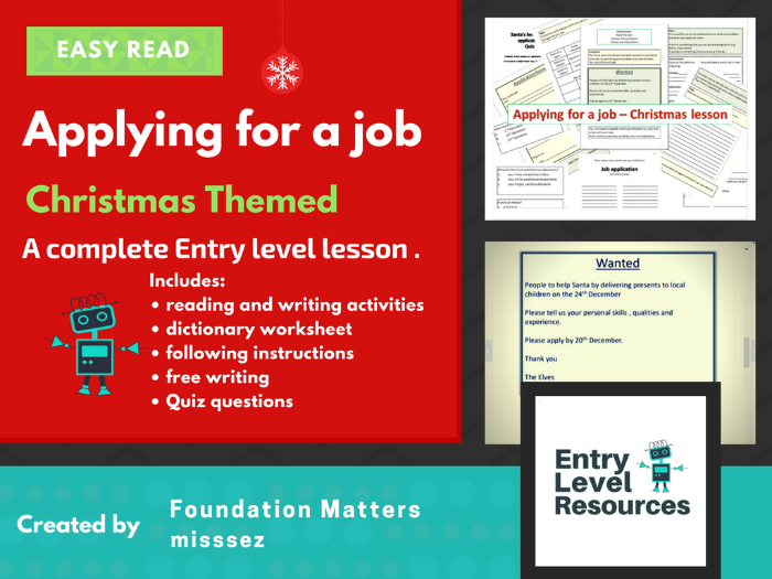 Easy read - Christmas lesson - Applying for a job