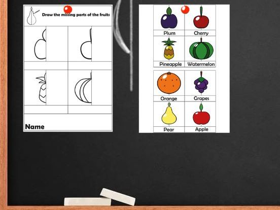 Symmetry of fruits. Symmetry practice worksheets and coloring pages