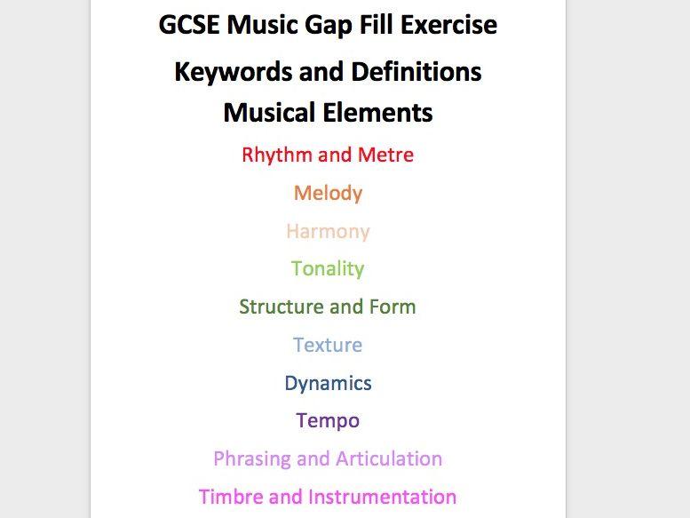 GCSE Music Elements Gap Fill
