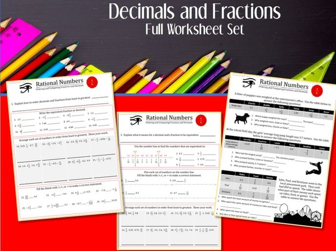 Fractions and Decimals --Full Worksheet Set