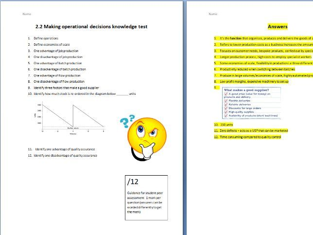 Edexcel GCSE Business 9-1 - Theme 2 - 2.3 Making operational decisions knowledge TEST + Answers