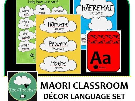 Maori Language Classroom Decor Set  - Word & Phrase Posters, Birthday Chart, Alphabet, Days of Week+