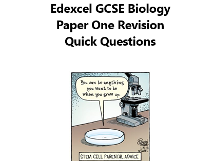 Edexcel GCSE Biology Paper ONE Revision Quick Questions New Spec 2018 AND DOUBLE AWARD