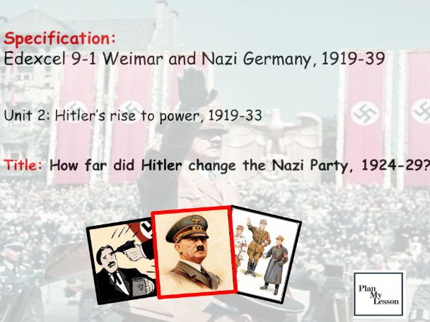 Edexcel 9-1 Weimar & Nazi Germany. L17 How far did Hitler change the Nazi Party, 1924-29?