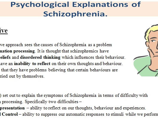 schizophrenia explained and treatments Discover the symptoms, causes, diagnosis advice, treatment options and related conditions of schizophrenia.