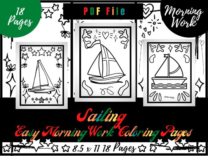 Sailing Morning Work Colouring Pages, Easy Printable Colouring Sheets PDF