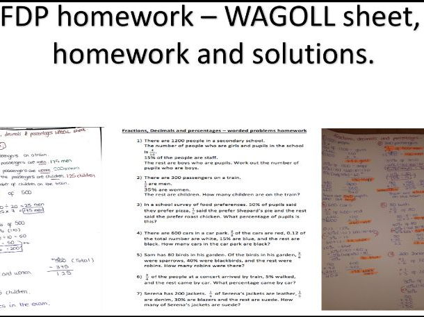 FDP - New Curriculum style worded problems homework