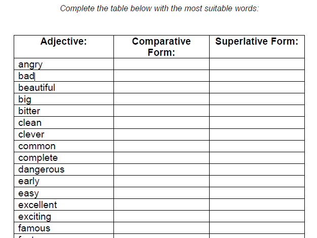 Adjectives (Group 1) – Comparative and Superlative Forms (Tough ...