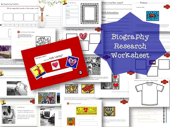 Biography Research Report / Keith Haring Biography worksheet