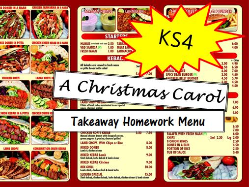 AQA A Christmas Carol KS4 Takeaway Homework Menu