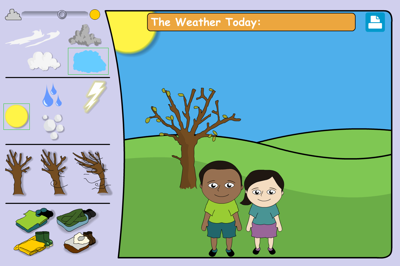 What's the weather today? - Interactive Activity - KS1 Literacy