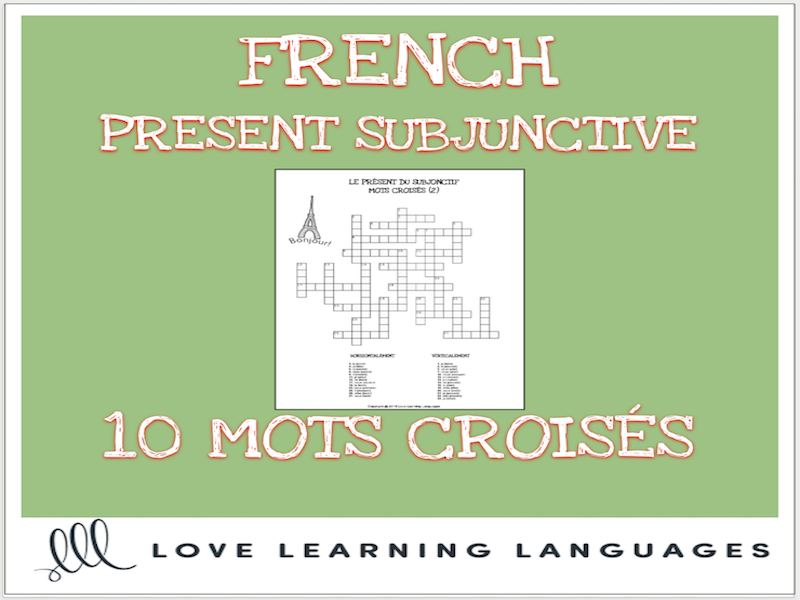 French present subjunctive crossword puzzles - Mots croisés