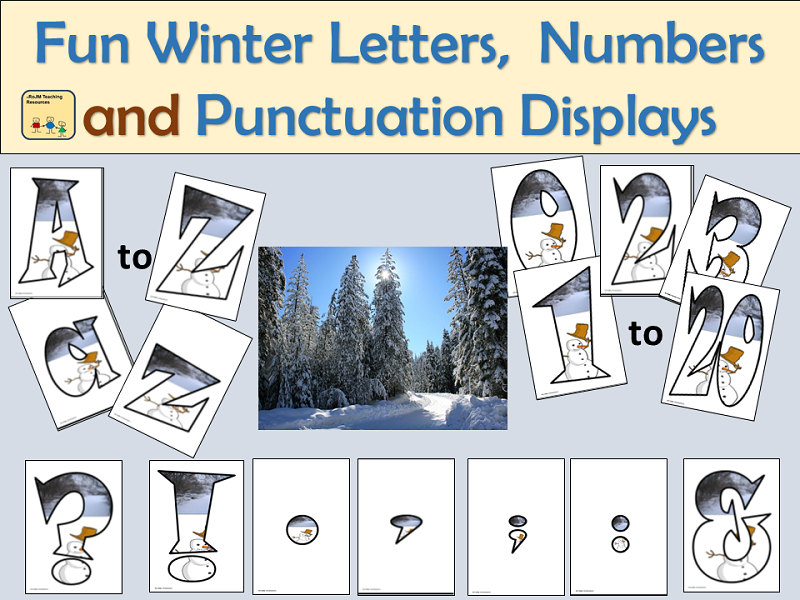Fun Alphabet Lettering, Numbers and Punctuation Symbols: Winter Season