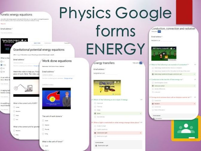Energy Google forms. Self marking GCSE Physics